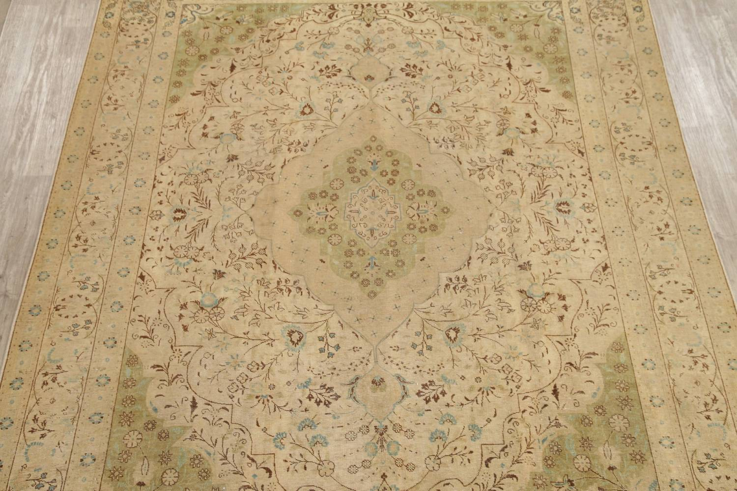 Muted Tabriz Persian Hand-Knotted 10x12 Wool Distressed Area Rug image 3