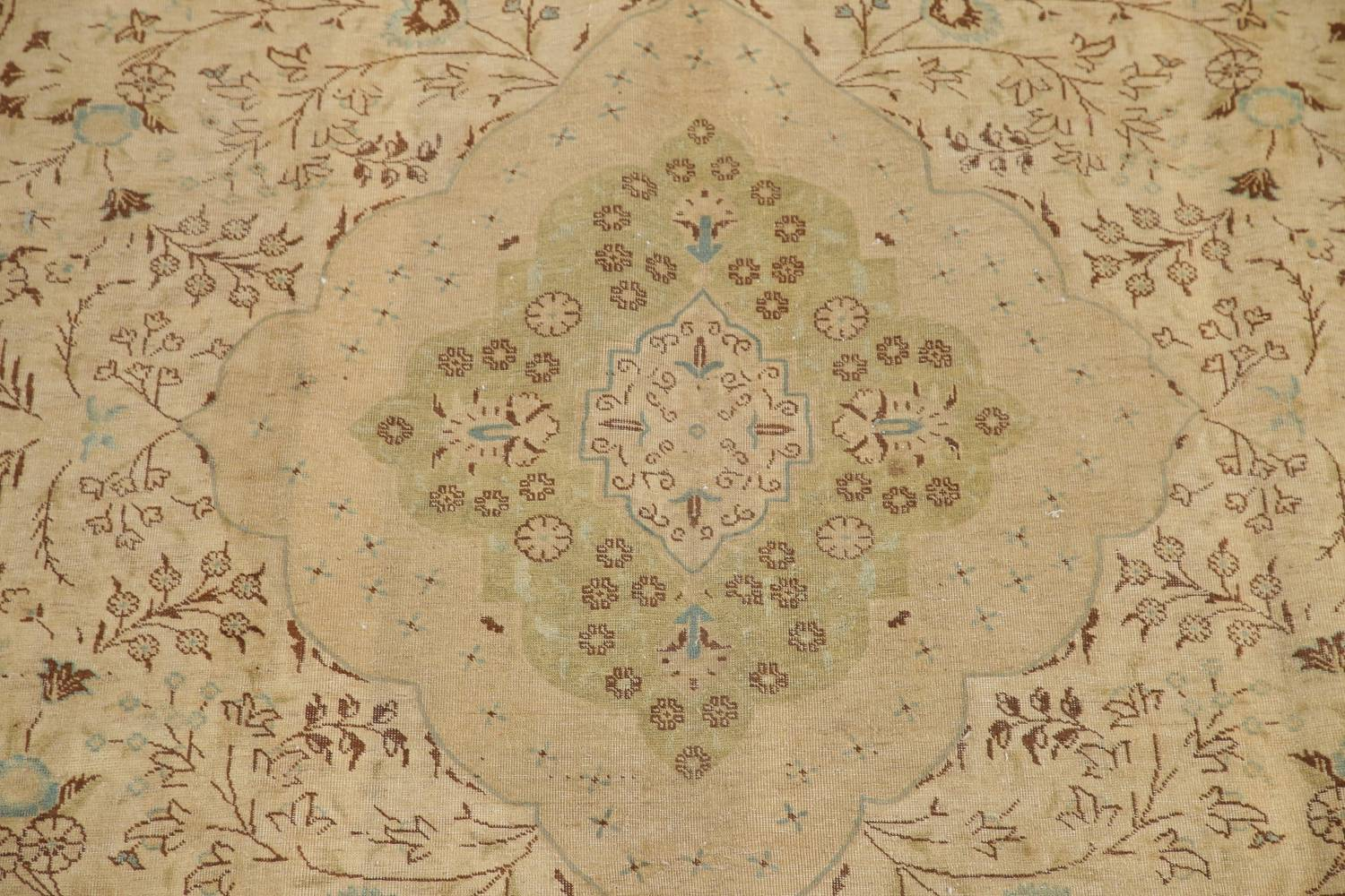 Muted Tabriz Persian Hand-Knotted 10x12 Wool Distressed Area Rug image 4