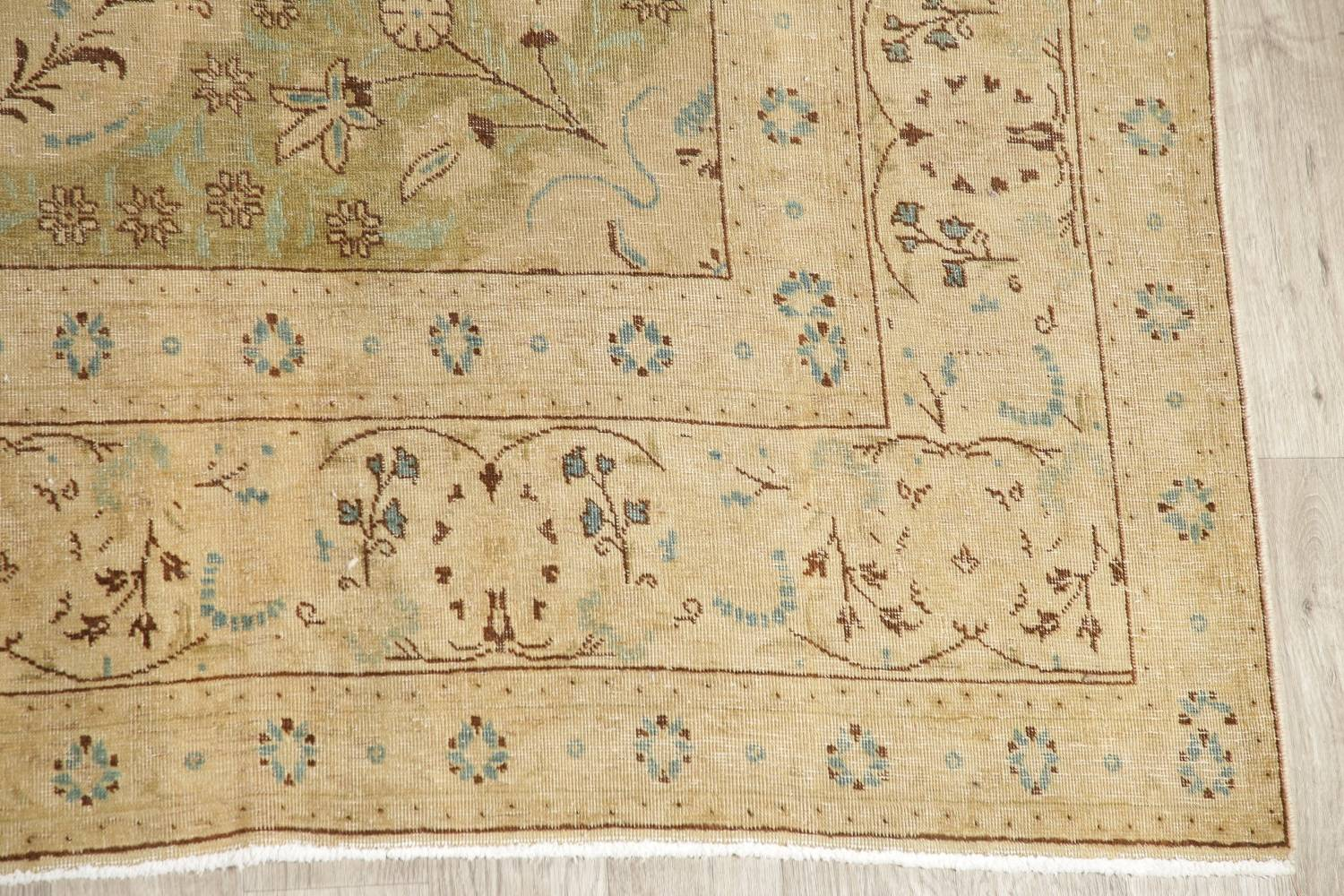 Muted Tabriz Persian Hand-Knotted 10x12 Wool Distressed Area Rug image 6