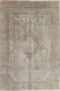 Muted Tabriz Persian Distressed Area Rug 7x11