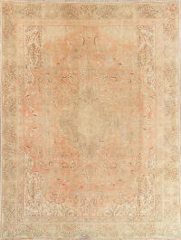 Muted Tabriz Persian Hand-Knotted 9x12 Wool Distressed Area Rug