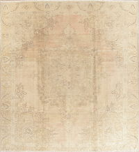 Muted Tabriz Persian Hand-Knotted 10x11 Wool Distressed Area Rug