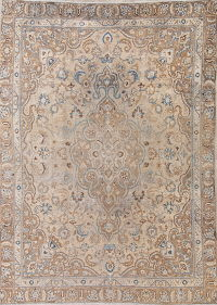 Muted Mashad Persian Hand-Knotted 8x11 Distressed Area Rug