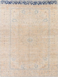 Muted Kashan Persian Hand-Knotted 9x13 Wool Distressed Area Rug