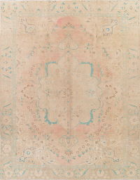 Over-dye Muted Tabriz Persian Hand-Knotted 9x12 Distressed Area Rug