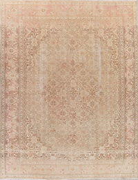 Antique Muted Tabriz Persian Hand-Knotted 10x12 Wool Distressed Area Rug