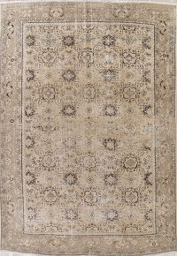 Muted Mahal Persian Hand-Knotted 9x12 Wool Distressed Area Rug