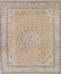 Muted Kashan Persian Hand-Knotted 9x12 Distressed Rug