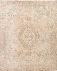 Antique Muted Tabriz Persian 10x13 Wool Distressed Area Rug