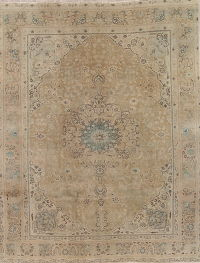 Antique-Washed Muted Tabriz Persian Hand-Knotted 8x11 Wool Distressed Area Rug