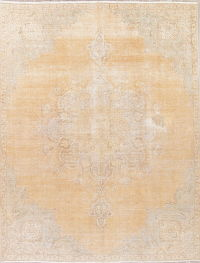 Muted Peach Tabriz Persian Hand-Knotted 8x10 Wool Distressed Area Rug