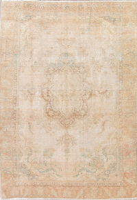 Antique Muted Tabriz Persian 7x11 Wool Distressed Area Rug