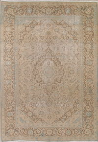 Muted Kashan Persian Hand-Knotted 8x11 Wool Distressed Area Rug