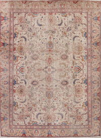Antique Floral Tabriz Persian Hand-Knotted 8x11 Wool Area Rug