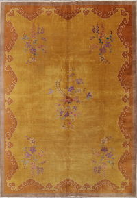Floral Gold Art Deco China Oriental 10x13 Wool Area Rug