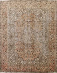 Antique Muted Tabriz Persian 8x11 Wool Distressed Area Rug