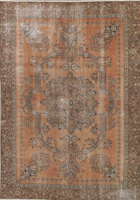 Muted Tabriz Persian 9x13 Wool Distressed Area Rug