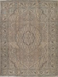 Muted Tabriz Persian Hand-Knotted 10x12 Wool Distressed Area Rug