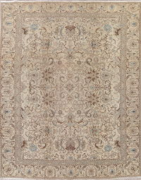 Muted Floral Tabriz Persian Hand-Knotted 9x12 Wool Area Rug