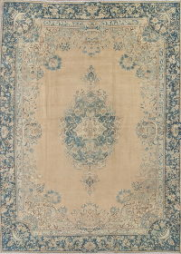 Antique Muted Kerman Persian Hand-Knotted 9x13 Wool Area Rug