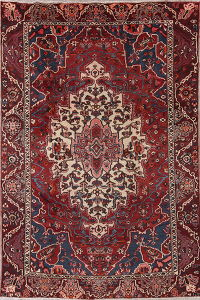 Geometric Red Bakhtiari Persian Hand-Knotted 8x12 Wool Area Rug