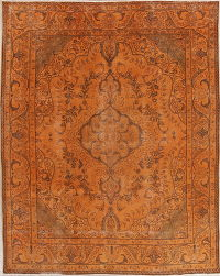 Overdye Tabriz Persian Hand-Knotted 8x11 Wool Distressed Rug