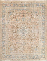 Muted Mashad Persian Hand-Knotted 10x13 Distressed Area Rug