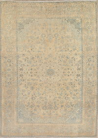 Antique Muted Tabriz Persian 9x13 Wool Distressed Area Rug