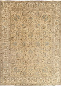 Muted Tabriz Persian Hand-Knotted 10x13 Wool Area Rug