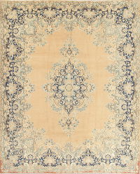 Muted Kerman Persian Hand-Knotted 10x13 Wool Area Rug