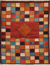 Multi-Color Geometric Gabbeh Persian Hand-Knotted 3x4 Wool Rug