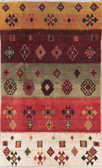 Multi-Color Gabbeh Persian Hand-Knotted 4x6 Wool Area Rug