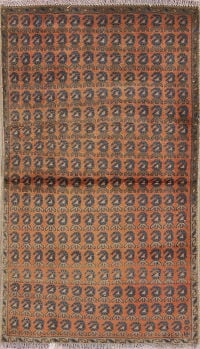 All-Over Rust Zanjan Persian Hand-Knotted 3x4 Wool Rug