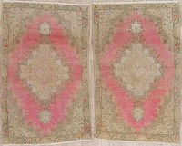 Set Of Two Floral Tabriz Persian Hand-Knotted 3x5 Wool Rugs