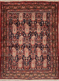 Geometric Hamedan Persian Hand-Knotted 4x5 Wool Area Rug