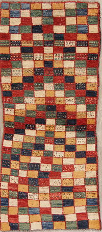 Checked Gabbeh Persian Hand-Knotted 3x6 Wool Runner Rug