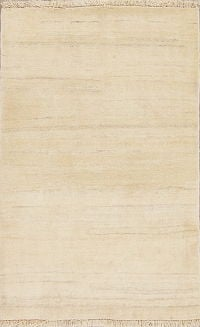 Modern Ivory Gabbeh Persian Hand-Knotted 3x5 Wool Rug