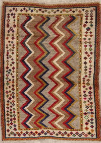 Multi-Color Gabbeh Persian Hand-Knotted 3x4 Wool Rug