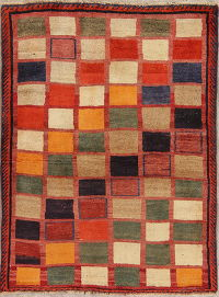 Checked Multi-Color Gabbeh Persian Hand-Knotted 4x5 Wool Area Rug