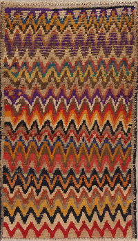 All-Over Multi-Color Gabbeh Persian Hand-Knotted 3x5 Wool Rug