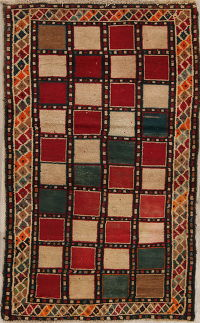 Checked Multi-Color Gabbeh Persian Hand-Knotted 3x5 Wool Rug