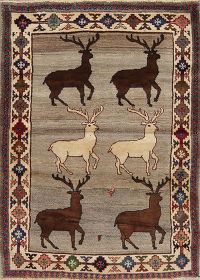 Animal Pictorial Gabbeh Persian Hand-Knotted 3x5 Wool Rug