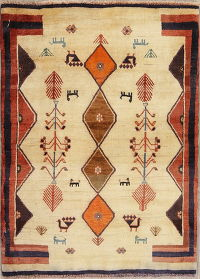 Tribal Geometric Gabbeh Persian Hand-Knotted 3x4 Wool Rug