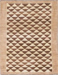 Geometric Gabbeh Persian Hand-Knotted 4x5 Wool Area Rug
