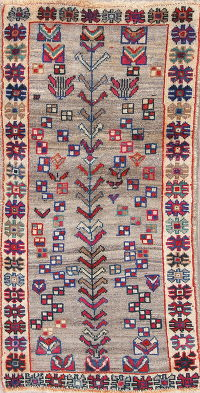 Geometric Gabbeh Persian Hand-Knotted 2x5 Wool Runner Rug