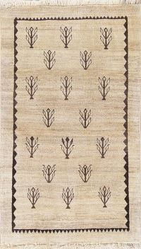 IVORY Gabbeh Persian Hand-Knotted 3x5 Wool Rug