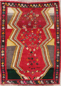 Geometric Red Gabbeh Persian Hand-Knotted 3x5 Wool Rug