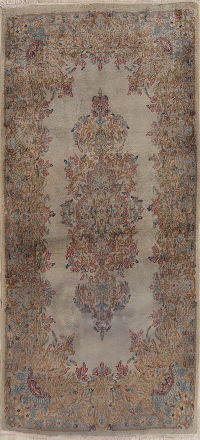 Brown Floral Kerman Persian Hand-Knotted 3x5 Wool Rug