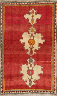 Geometric Red Gabbeh Persian Hand-Knotted 4x5 Wool Area Rug