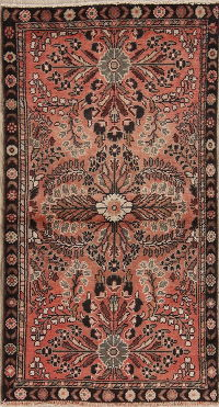 Coral Red Floral Lilian Persian Hand-Knotted 3x5 Wool Rug